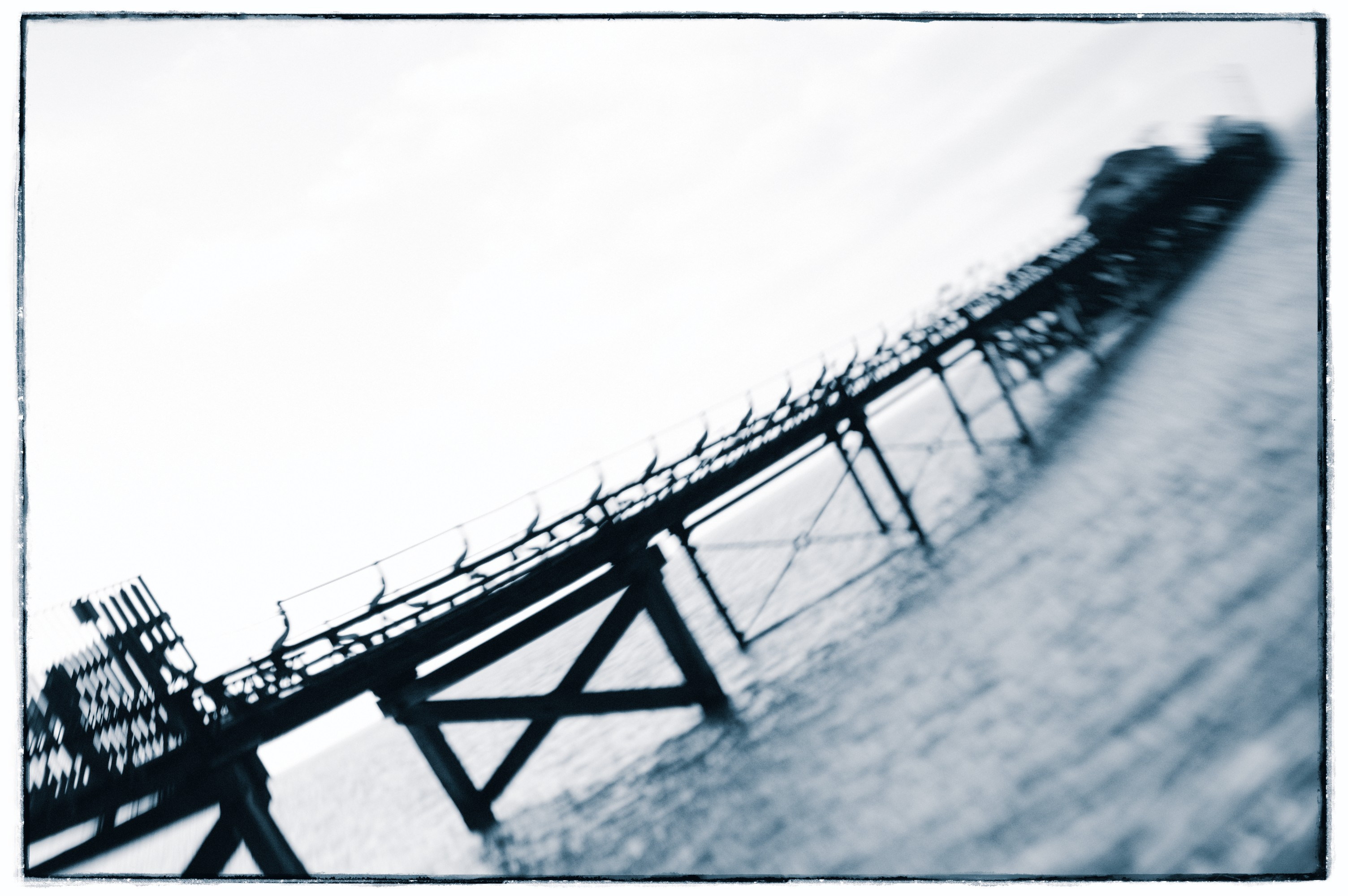 A distorted photo of a pier