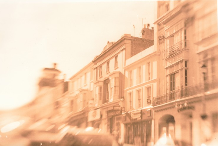 A lith print of some buildings